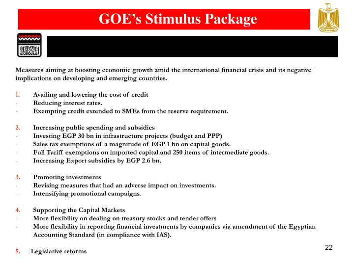 GOE's Stimulus Package