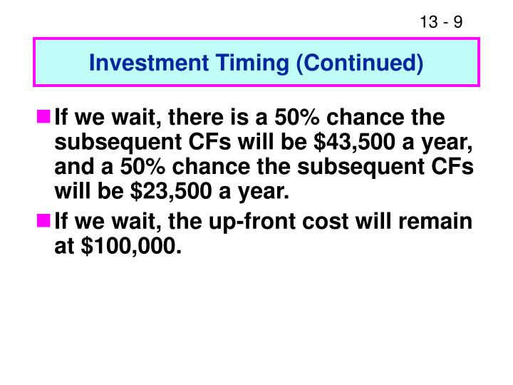 Investment Timing (Continued)