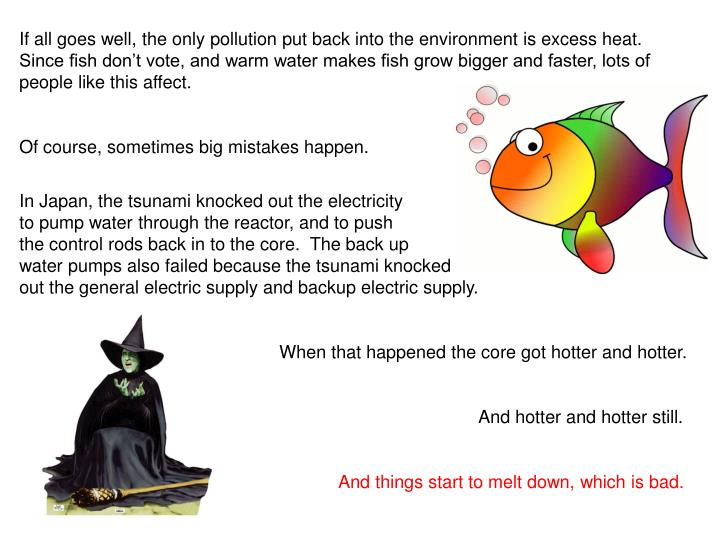 If all goes well, the only pollution put back into the environment is excess heat.  Since fish dont vote, and warm water makes fish grow bigger and faster, lots of people like this affect.