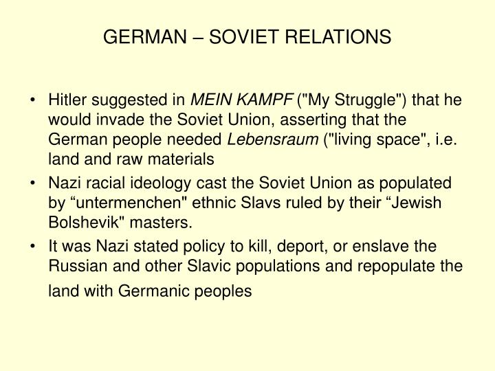 GERMAN – SOVIET RELATIONS