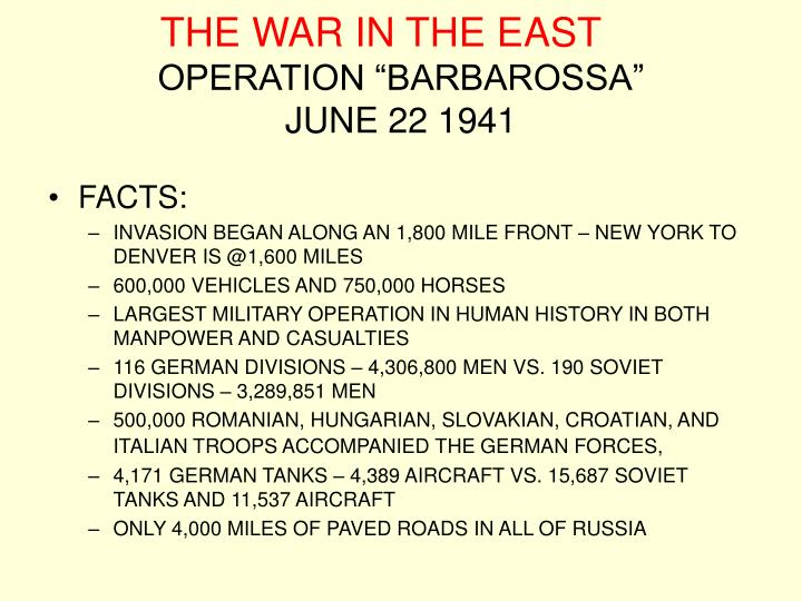 The war in the east operation barbarossa june 22 1941