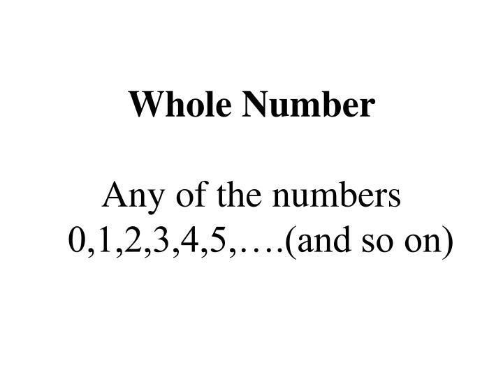 Whole Number