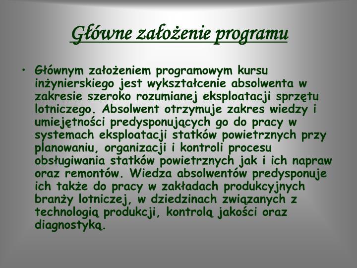 Główne założenie programu