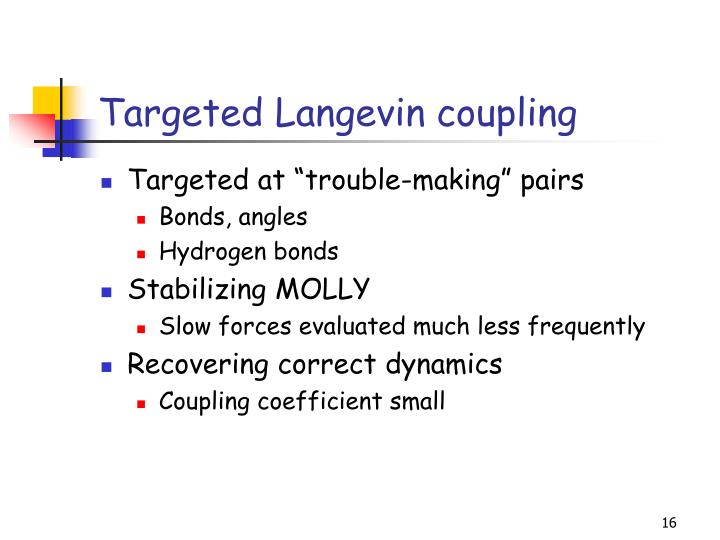 Targeted Langevin coupling