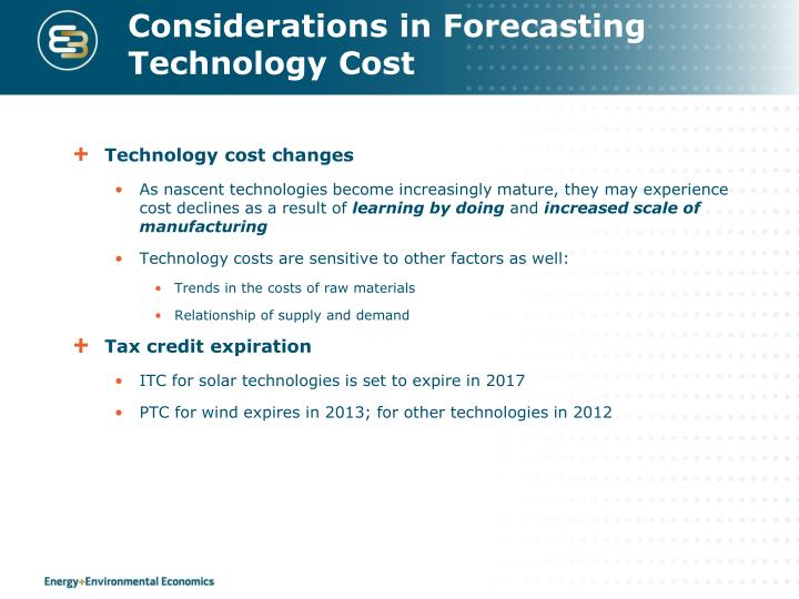 Considerations in Forecasting Technology Cost
