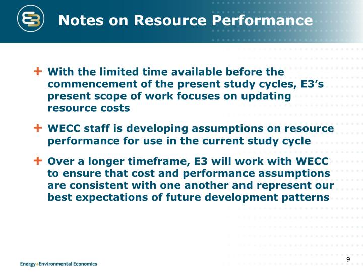 Notes on Resource Performance