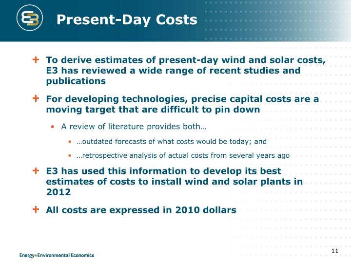 Present-Day Costs