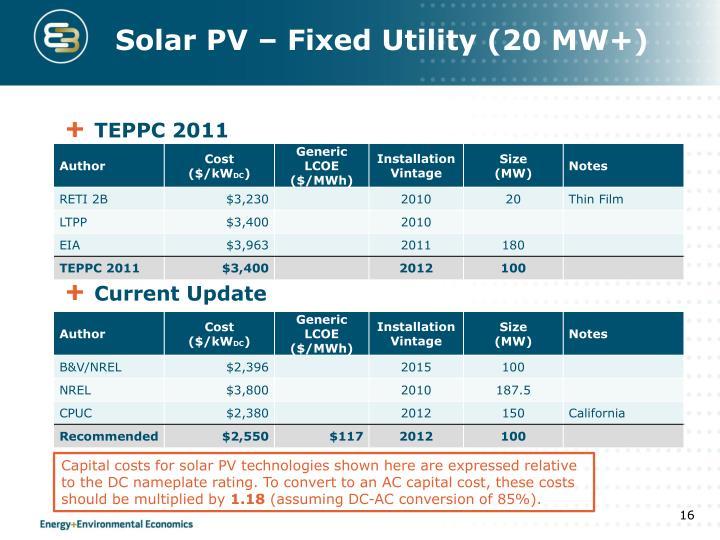 Solar PV – Fixed Utility (20 MW+)