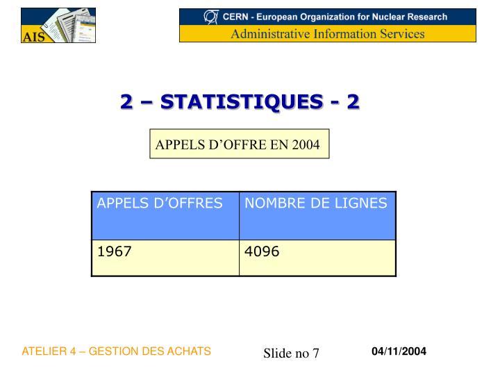 2 – STATISTIQUES - 2