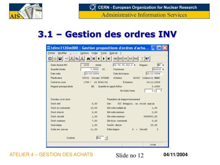 3.1 – Gestion des ordres INV