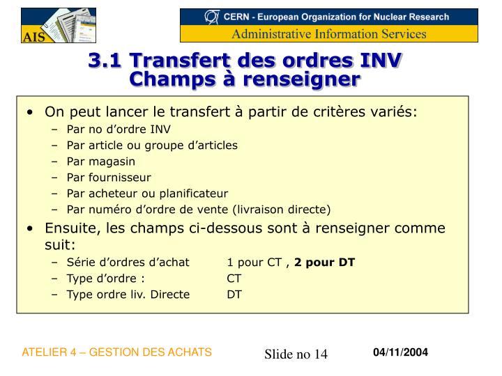 3.1 Transfert des ordres INV