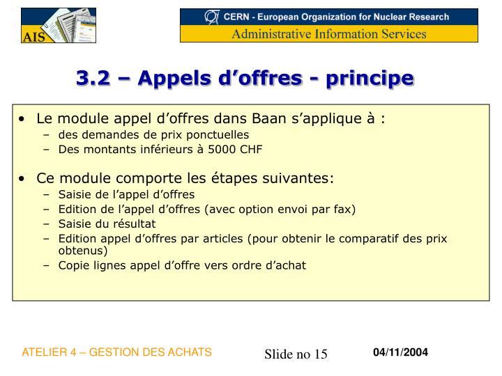 3.2 – Appels d'offres - principe