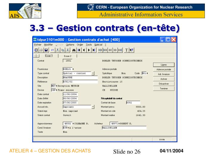 3.3 – Gestion contrats (en-tête)