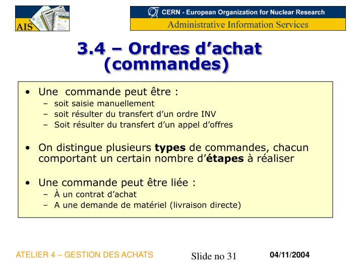 3.4 – Ordres d'achat (commandes)