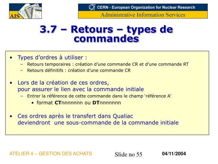 3.7 – Retours – types de commandes