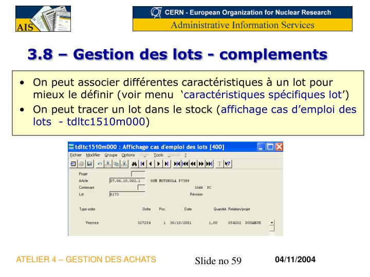 3.8 – Gestion des lots - complements