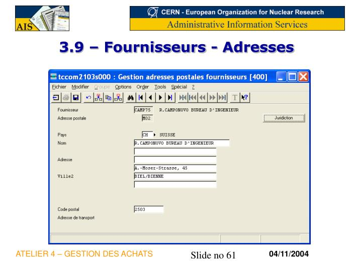3.9 – Fournisseurs - Adresses