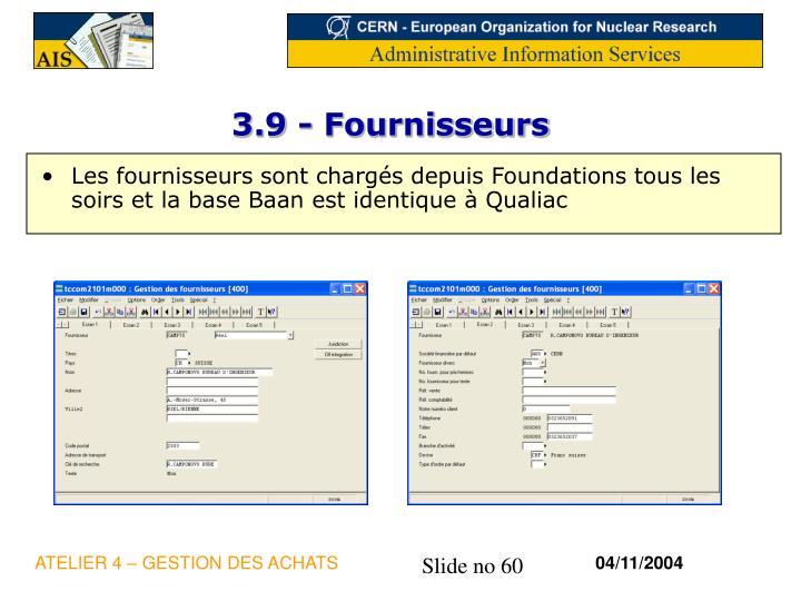 3.9 - Fournisseurs