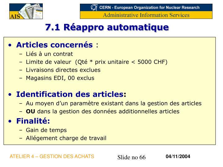 7.1 Réappro automatique