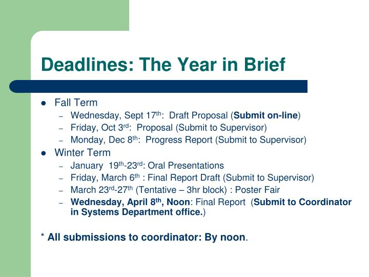 Deadlines: The Year in Brief