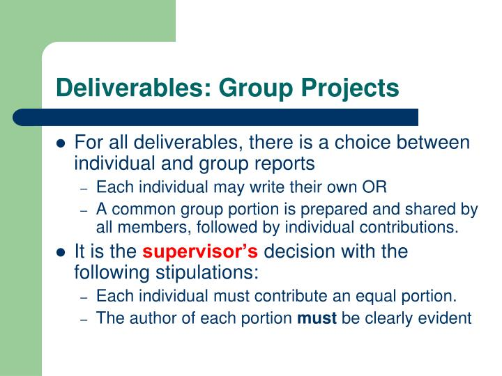 Deliverables: Group Projects