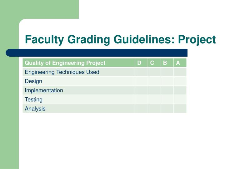 Faculty Grading Guidelines: Project