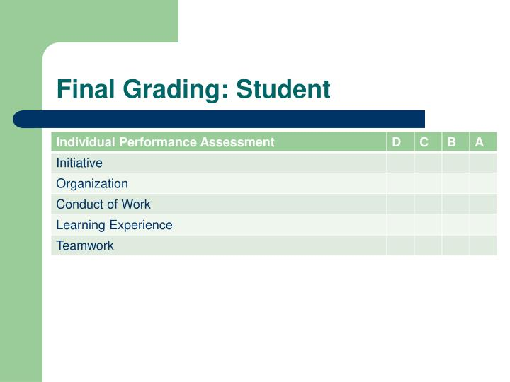 Final Grading: Student