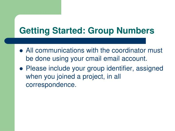 Getting Started: Group Numbers