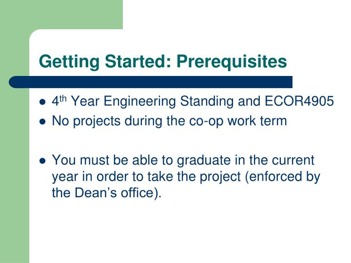 Getting Started: Prerequisites