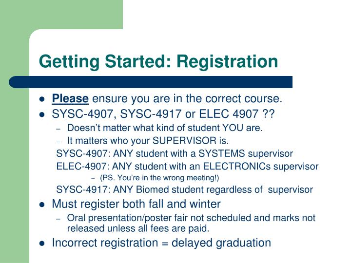 Getting Started: Registration