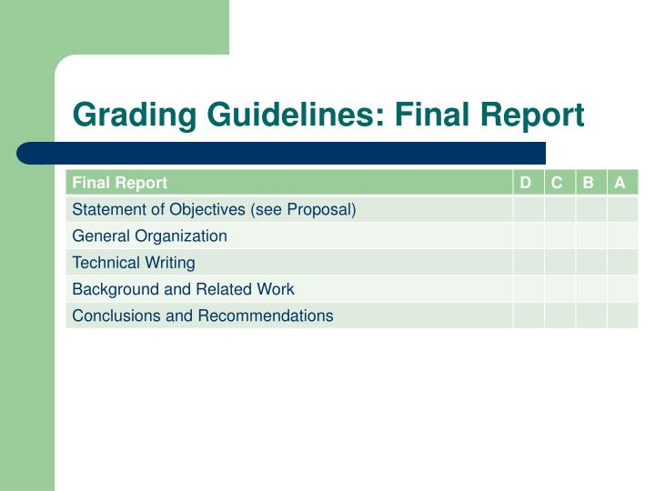 Grading Guidelines: Final Report