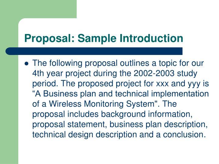 Proposal: Sample Introduction