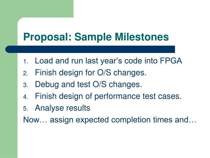 Proposal: Sample Milestones