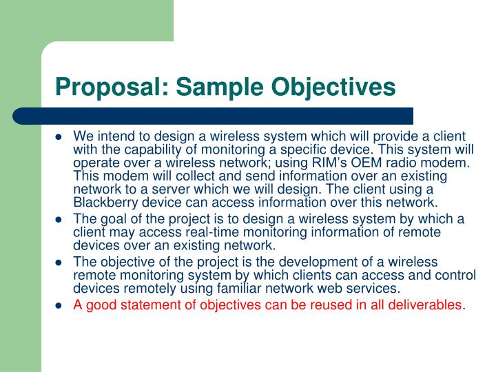 Proposal: Sample Objectives