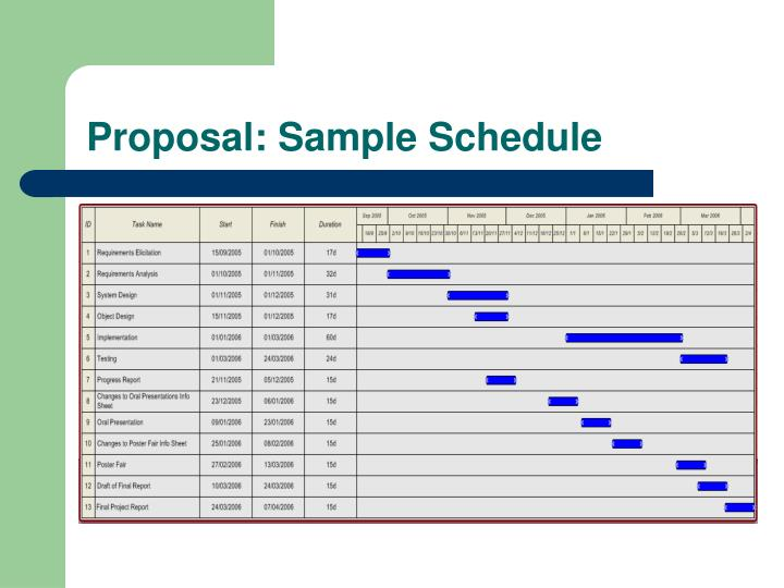 Proposal: Sample Schedule