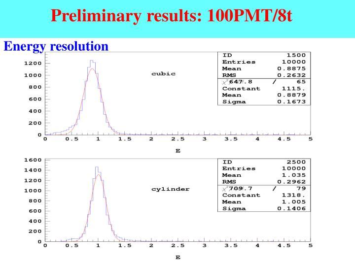 Preliminary results: 100PMT/8t