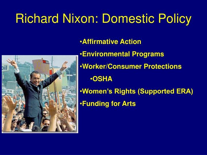 Richard Nixon: Domestic Policy