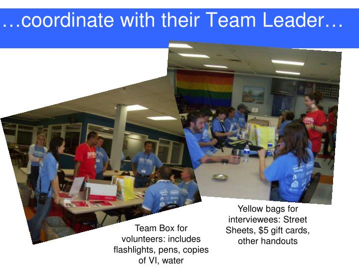 …coordinate with their Team Leader…