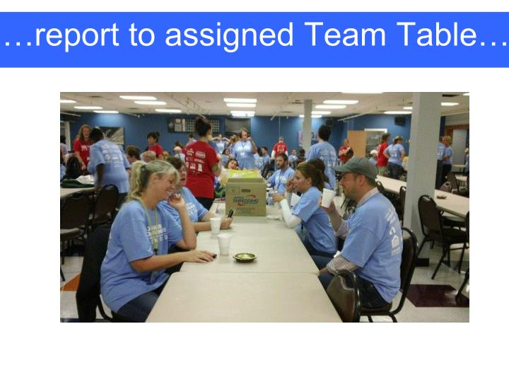 …report to assigned Team Table…