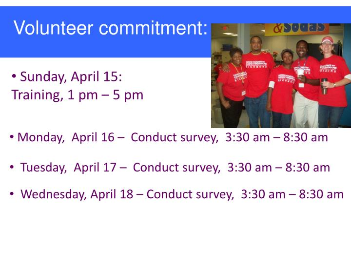 Volunteer commitment:
