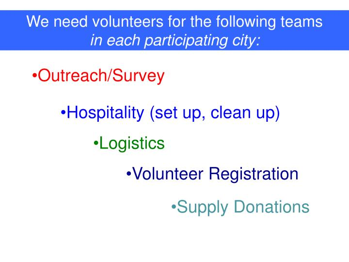 We need volunteers for the following teams