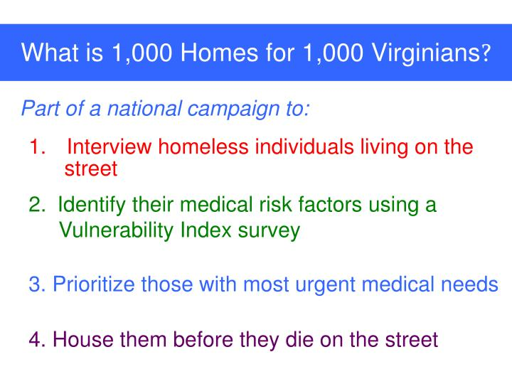 What is 1 000 homes for 1 000 virginians