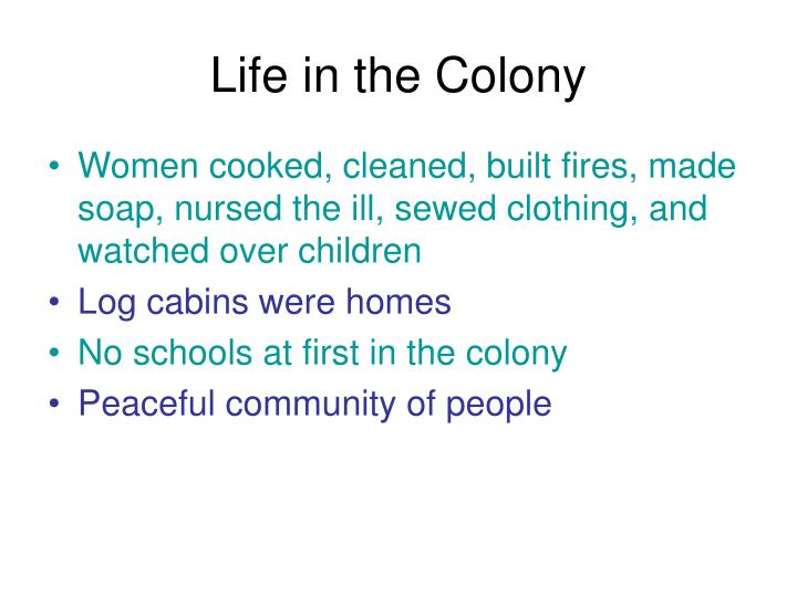Life in the Colony