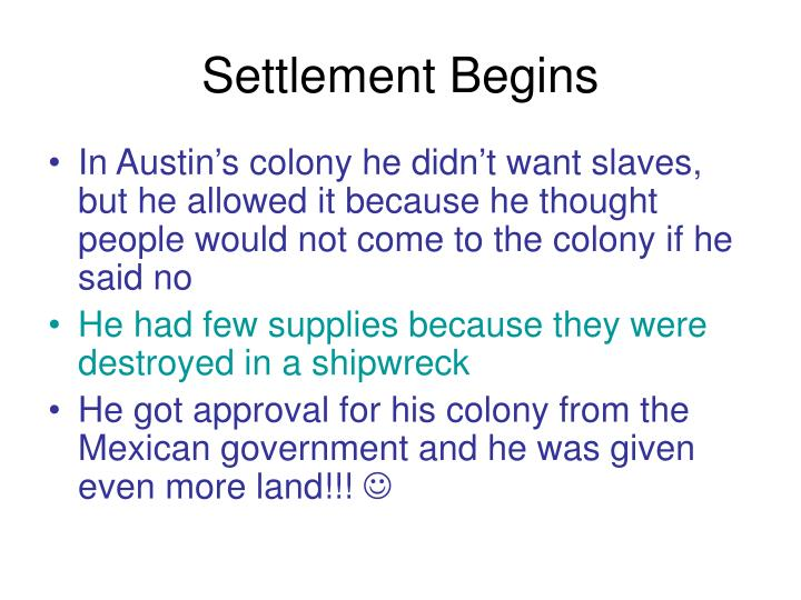 Settlement Begins