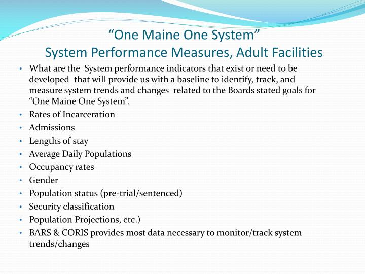 One maine one system system performance measures adult facilities