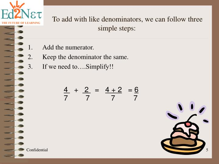 To add with like denominators, we can follow three simple steps: