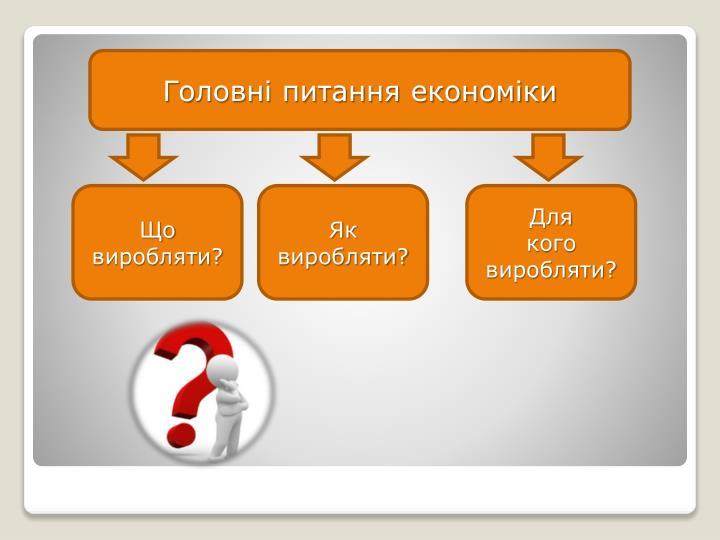 Головні питання економіки