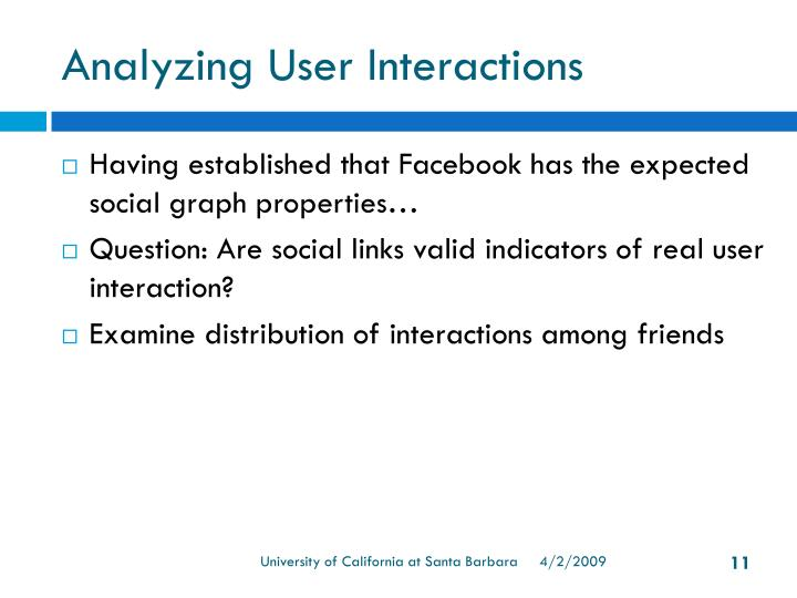 Analyzing User Interactions