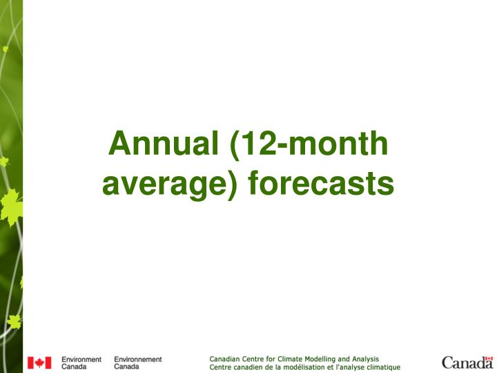 Annual (12-month average) forecasts