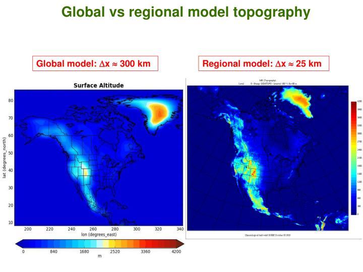 Global vs regional model topography